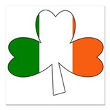 Tri-Color Shamrock Square Car Magnet