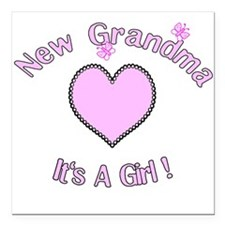 New Grandma It's a Girl Square Car Magnet