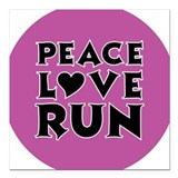 Peace Love Run Square Car Magnet