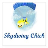Skydiving Chick (2) Square Car Magnet