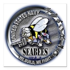 USN Seabees We Build We Fight Square Car Magnet