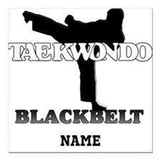 Personalized TaeKwonDo Black Belt Square Car Magne