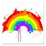 Rainbow Splatter'D Square Car Magnet