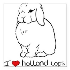I Love Holland Lop Rabbits Square Car Magnet