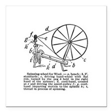 Yarn - Vintage Spinning Wheel Square Car Magnet