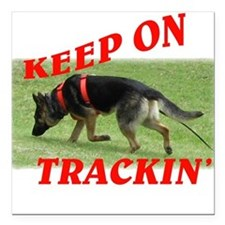 GSD tracking dog Square Car Magnet