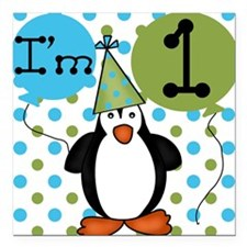 Penguin 1st Birthday Square Car Magnet