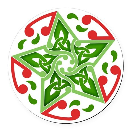 Celtic Christmas Star Round Car Magnet