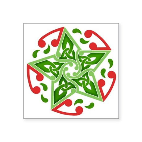 "Celtic Christmas Star Square Sticker 3"" x 3"""