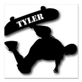 Tyler - Skateboard Square Car Magnet