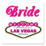 Bubble Gum Pink Las Vegas Bride Square Car Magnet