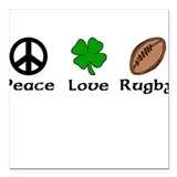 Peace Love Rugby Irish Square Car Magnet