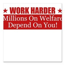 Work Harder Square Car Magnet