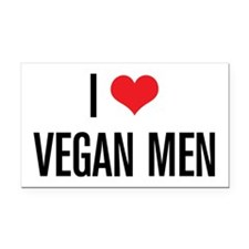 I Love Vegan Men Rectangle Car Magnet