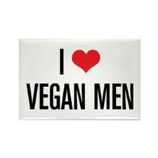 I Love Vegan Men Rectangle Magnet