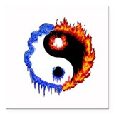 Ying Yang Ice and Fire Square Car Magnet