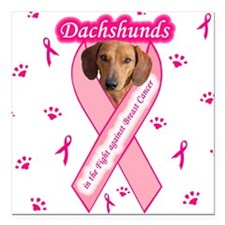 Dachshunds Against Breast Cancer Square Car Magnet