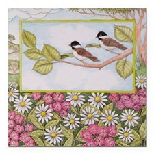 Chickadees and Daisies Square Car Magnet