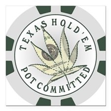 Texas Hold'em Pot Committed Square Car Magnet