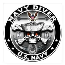 USN Navy Diver Skull ND Square Car Magnet