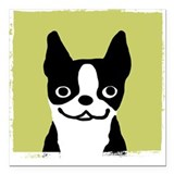 Boston Terrier Smile Square Car Magnet