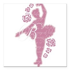 Ballet Dancer With Flowers Square Car Magnet