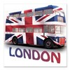 London Bus with Union Jack an Square Car Magnet
