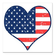 Patriotic Heart with Flag Square Car Magnet