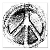 Urban Peace Sign Sketch Square Car Magnet