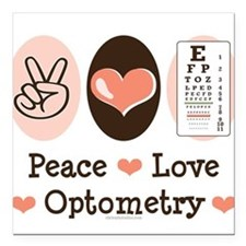 Peace Love Optometry Eye Chart Square Car Magnet