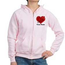 Personalized Nurse Heart Zip Hoodie