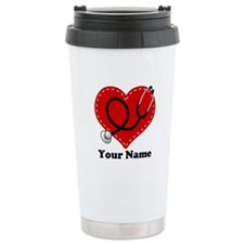 Personalized Nurse Heart Ceramic Travel Mug