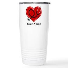 Personalized Nurse Heart Thermos Mug
