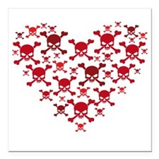 Skulls Heart Square Car Magnet