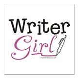Writer Girl Square Car Magnet