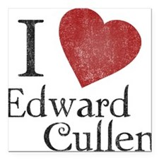 I Love Edward Cullen Square Car Magnet