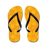 Golden Yellow Tropical Flowers Flip Flops