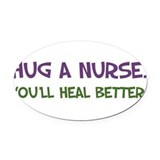huganursesq .png Oval Car Magnet