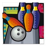 "Bowling Square Car Magnet 3"" x 3"""