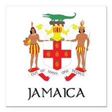 Coat of Arms of Jamaica Square Car Magnet 3""