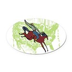 0971h1734americancowboy.png Oval Car Magnet