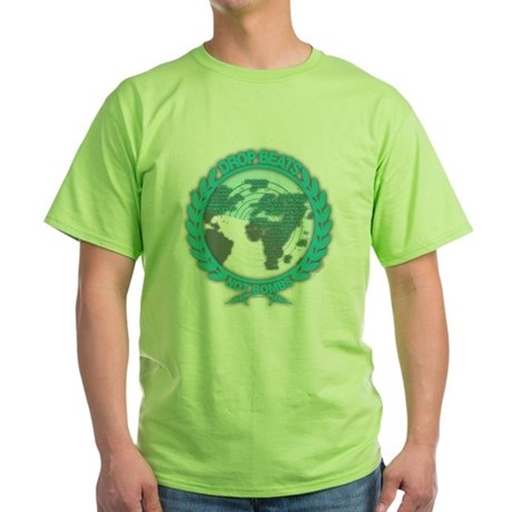 Music Radar Drop Beats Not Bombs Green T-Shirt