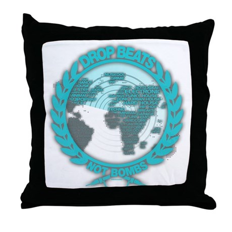 Music Radar Drop Beats Not Bombs Throw Pillow