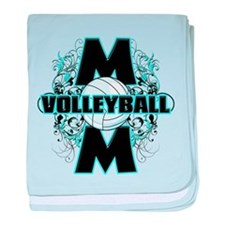 Volleyball Mom (cross).png baby blanket