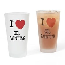 I heart oil painting Drinking Glass