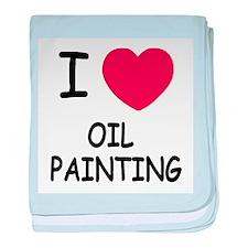I heart oil painting baby blanket