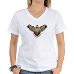 Beadwork Red-Tailed Hawk Women's V-Neck T-Shirt