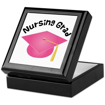 Pink Nursing Grad Hat Keepsake Box