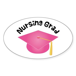 Pink Nursing Grad Hat Sticker (Oval)