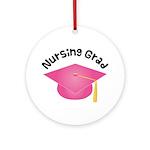 Pink Nursing Grad Hat Ornament (Round)